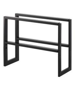 LINE Series 2-Tier Steel Expandable Low-Profile Shoe Rack, Black