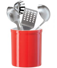 Oggi Ceramic Utensil Holder, Red