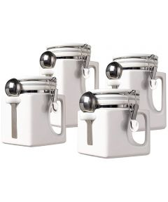 Oggi Set of 4 EZ Grip Ceramic Canisters with Clamp Lids & Silicone Gaskets, White