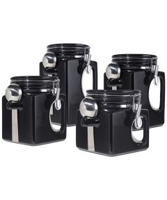Oggi Set of 4 EZ Grip Ceramic Canisters with Clamp Lids & Silicone Gaskets, Black