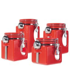 Oggi Set of 4 EZ Grip Ceramic Canisters with Clamp Lids & Silicone Gaskets, Red