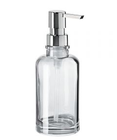 Oggi Round Glass Soap/Lotion Dispenser, Clear