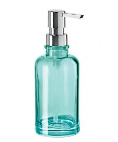 Oggi Round Glass Soap/Lotion Dispenser, Aqua