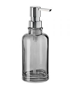 Oggi Round Glass Soap/Lotion Dispenser, Smoke