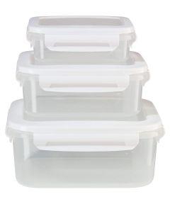 Oggi Set of 3 FreshLock Rectangular Storage Containers with See Thru Lids