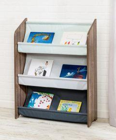 """Explore + Store 38"""" 3-Tier Kids Book Rack, Grey"""