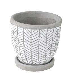 Elemental Ceramic Planter, Herringbone White