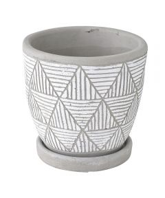 Elemental Ceramic Planter, Triangle White