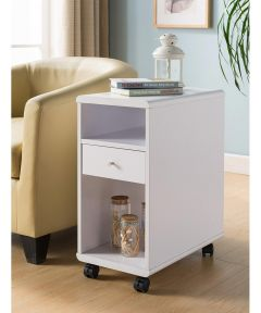 Chairside End Table with Storage Drawer, White