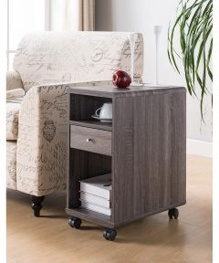 Chairside End Table with Storage Drawer, Distressed Gray