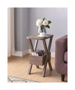 Chairside End Table with Crosshatch Legs & Storage Bin, Hazelnut