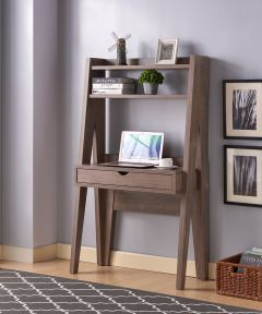 33.5 in. Wide Ladder Desk with Drawer & 2 Shelves, Hazelnut