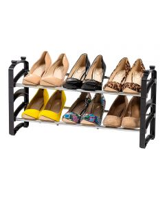 2-Tier Slim Stackable Metal Shoe Rack