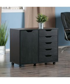 Halifax 5-Drawer, 1-Door Storage Cabinet, Black