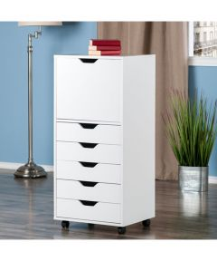 Halifax 5-Drawer, 1-Door Tall Cabinet, White