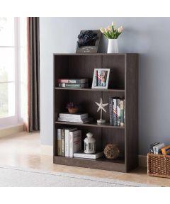 3-Shelf Bookcase, Walnut Oak