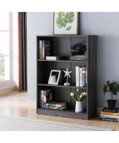 3-Shelf Bookcase, Distressed Grey
