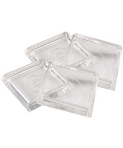 1-13/16 Inch Clear Square Caster Cups, 4 Count