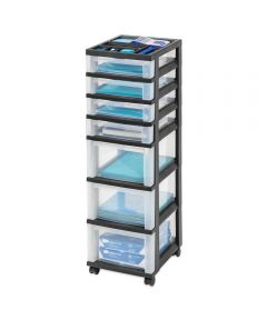 7-Drawer Cart with Organizer Top, Black/Clear