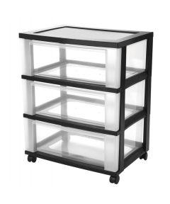 Wide 3-Drawer Storage Chest, Black/Clear