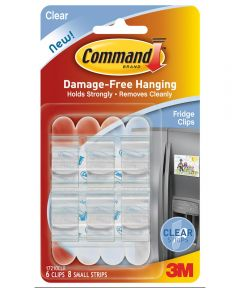 Clear Command Refrigerator Clips 6 Count