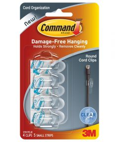 Clear Round Command Cord Clips 4 Count