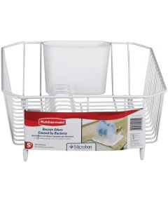 White Twin Sink Dish Drainer
