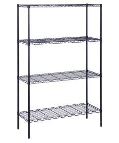 4-Tier Black Shelf Unit, 18x48x72 Inches