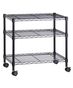 3-Tier Media Cart, Black, 16x28x26 Inches