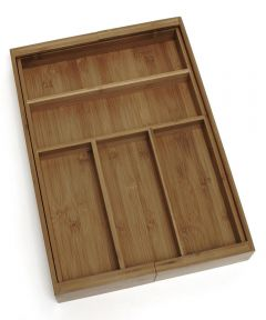 Bamboo Expandable Flatware Organizer Tray with 5 to 7 Compartments