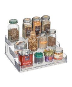 Linus 3-Tier Plastic Stadium Spice Rack Organizer, Clear