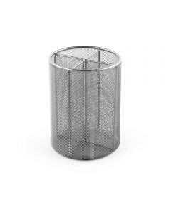 Mesh Quartet Utensil Holder with 4 Compartments, Silver