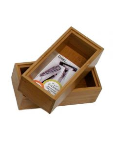 Stackable 3x6 Bamboo Organizer Box, 2 Pack
