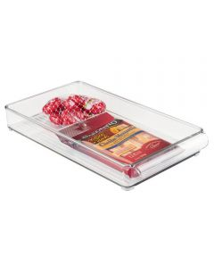 Fridge Binz Kitchen Organizer Tray, Clear, 8x2x14.5 Inches