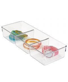 Linus Drawer Organizer with 3 Compartments, Clear, 12x5x2.25 Inches