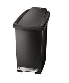10 Liters/2.6 Gallons Slim Step Trash Can, Black Plastic