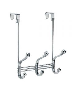 York Lyra Metal Over-the-Door 3 Double Hook Rack, Chrome Finish