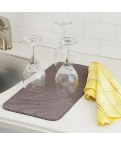 iDry Mini Absorbent Kitchen Countertop Dish Drying Mat, Mocha/Ivory