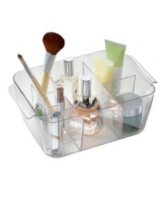 Clarity Plastic Cosmetic Organizer Bin Tote with 8 Compartments, Clear