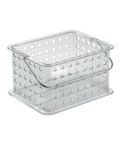 Clarity Small Plastic Storage Basket with Metal Handle, Clear