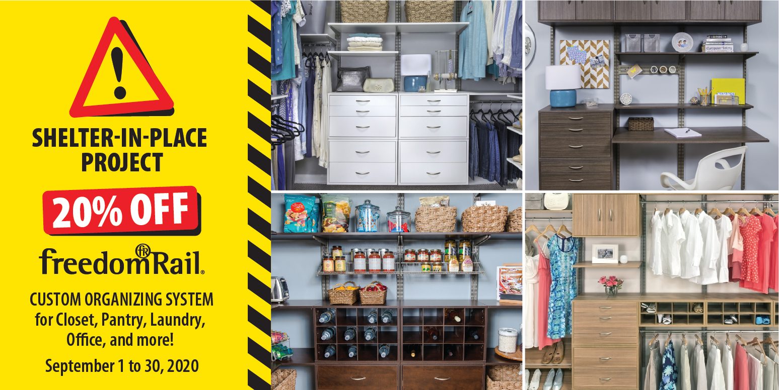 Simply Organized - 20% Off freedomRail Custom Organizing System