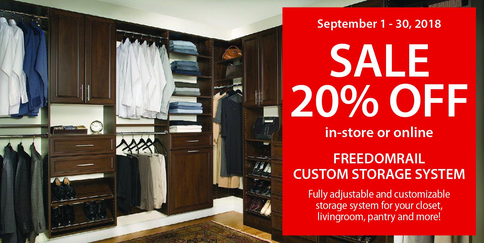 FreedomRail Custom Storage System Sale